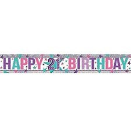 Happy 21st Holographic Pink Banner AM9900026