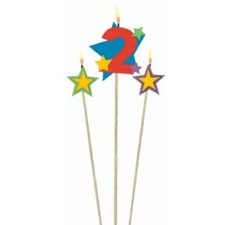 Candle Numeral 2 with Stars AM175204