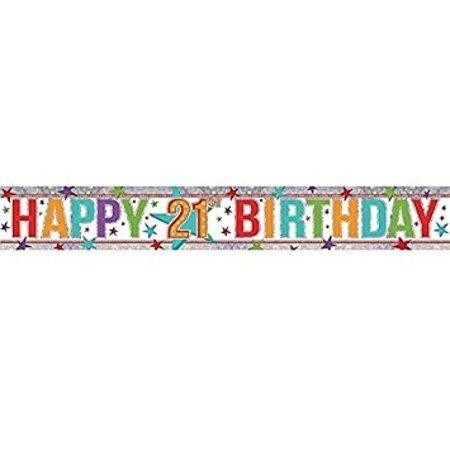 Happy 21st Holographic Multi Colour Banner AM9900027