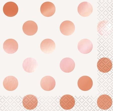 Rose Gold Foil Stamped Dots Beverage Napkins M53471