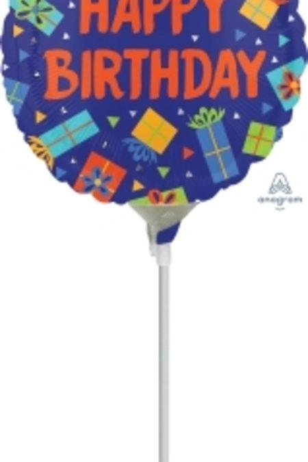 Colourful Birthday Presents 9 inch (23 cm) Foil Balloon ANA35581-F