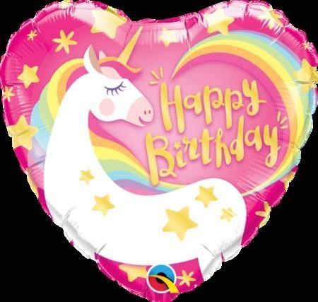 Happy Birthday Magical Unicorn Heart Shape Foil Balloon Q57319