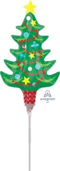 Festive Christmas Tree with Star Minishape Foil Balloon ANA31525-I