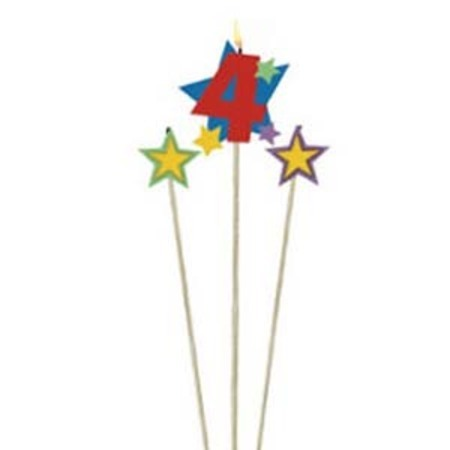 Candle Numeral 4 with Stars AM175206