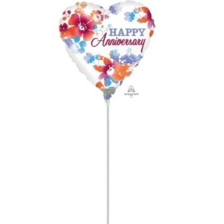 Happy Anniversary Watercolor 4 inch (10 cm) Foil Balloon ANA31929 -F