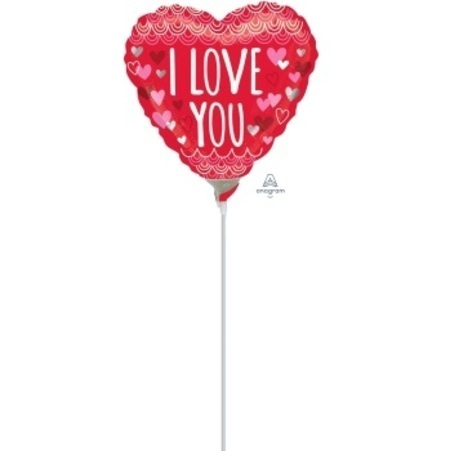 I Love You Sketchy Scallop 4 inch (10 cm) Foil Balloon ANA34378-I