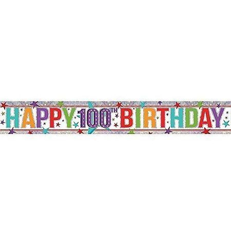 Happy 100th Holographic Multi Colour Banner AM9900972