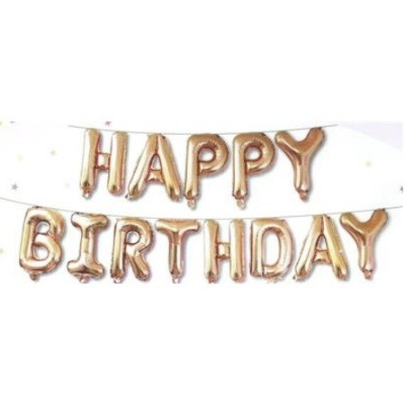 Happy Birthday Set Rose Gold 13 x 16 inch (40 cm) Letters Ribbon Included HB16RG