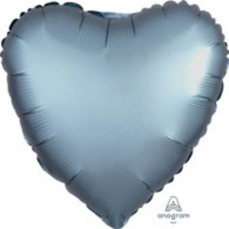 Heart Steel Blue Satin Foil Balloon ANA36814