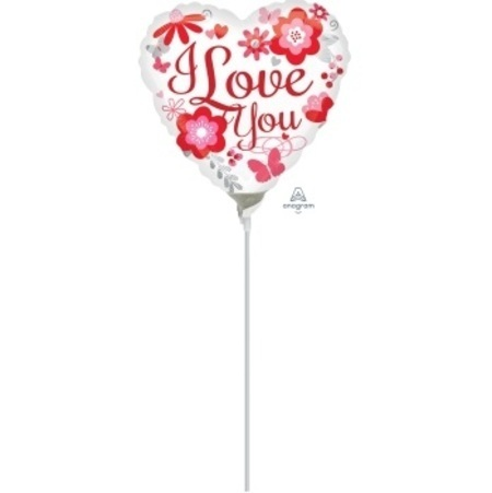 I Love You Floral 9 inch (22 cm) Foil Balloon ANA31876-I