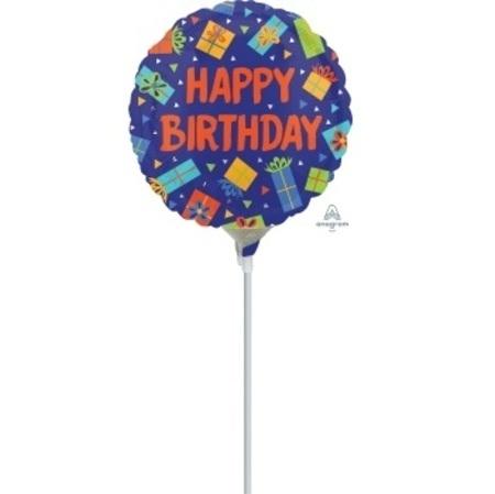 Colourful Birthday Presents 4 inch (10cm) Foil Balloon ANA35582-F