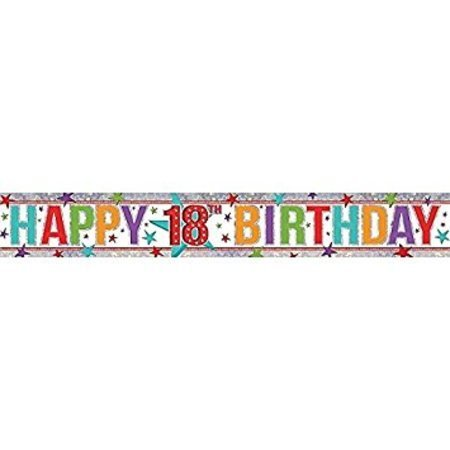 Happy Birthday Holographic 18th Multi Colour Banner AM9900025