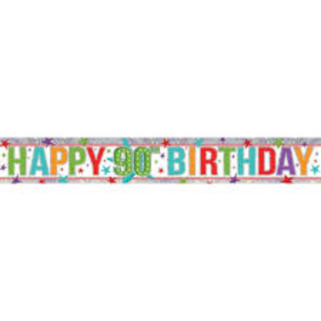 Happy 90th Holographic Multi Colour Banner AM9900971