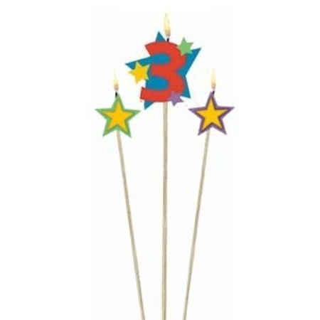 Candle Numeral 3 with Stars AM175205