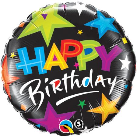 Birthday Brilliant Stars Black Foil Balloon Q23785