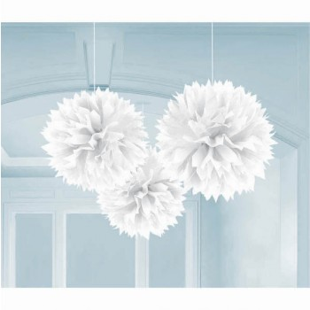 Fluffy Hanging Paper Decorations White AM1805508