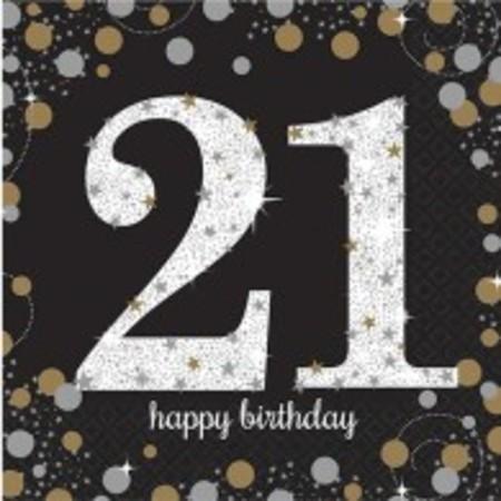 Sparkling Black 21st Birthday Luncheon Napkins AM9900564