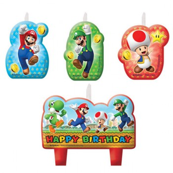 Super Mario Brothers Candle Set Happy Birthday AM171554